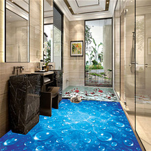 Custom Floor Mural Wallpaper Blue Wave Water Droplets 3D Bathroom Kitchen Floor Sticker PVC Wear Non-slip Wallpaper For Walls 3D(China)