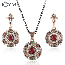 Joyme Brand Ball Pendant Necklace Earrings For Women Bohemian Choker 2016 Retro Resin Gold-Color African Jewelry Set USA(China)