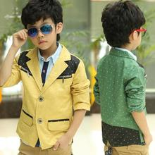 Spring/Autumn Fashoin Dotted Boys Blazers Kids Jackets Suits Children Outwear Baby Clothes New 2016 T2DTBO(China)