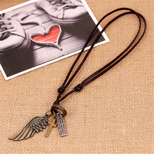 Creative Men's Women's Jewelry Vintage Cross Angel Wing Pendant Necklace Long Leather Necklace Charms