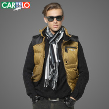 CARTELO/Brand Slim 90% Duck Car-Styling S-XXXL Men's Casual Down Vest Autumn Or Winter Hooded Collar Male Vest Warm Thick Coat(China)