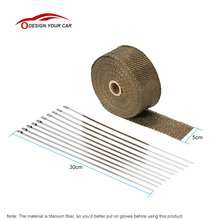 Fiberglass Insulation Clothes 10m*5cm*1.5mm Titanium Fiber Heat Wrap Exhaust Manifold 10 Cable Ties for Car Motorcycle(China)