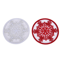 2pcs Placemat Mug Pad Coasters Christmas Snowflake Cup Mat Kitchen Table Decor