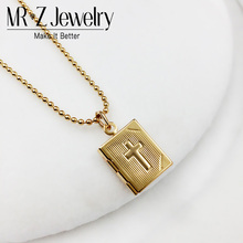 Religious Bible Cross Box Square Photo Locket Necklace Fashion Womens Jewelry Drop Shipping Supplier (Can Put Photo Inside)(China)