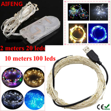 AIFENG 10M 33FT 100leds USB Led Silver Copper Wire String Lights  2M 20leds Button Cell Battery String Decoration Fairy Lights