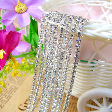 Shiny 10yards/Roll SS6 SS10 ss12 Crystal Clear Silver Metal Base Rhinestones Cup Chain Glitter Glass Strass For DIY And Garment