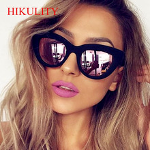 Rose Gold Cat Eye Sunglasses Form Women Pink Mirror Shades 2017 Female Sun Glasses Black Coating Cateye Aviation Oculos Round
