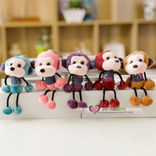 Free shipping Plush Monkey toys 2pcs/lot warm stuffed kids bag hangers keychains car decoration Promotion give away gifts
