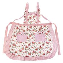 Rose Flower Printing Shoulder Belt Style Sleeveless Women'S Kitchen Cooking Apron With Pocket (Pink)