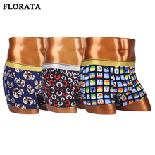 Men Boxer 3 Types Funny Printing Underwear Top Quality Heathyhorts Underpant Sexy Gay Underwear Soft(China)