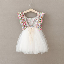 high quality Baby Girls lace wedding dress child Pastoral style floral dress 2-7y toddler girls backless summer clothing 2017