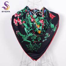 Black Twill Silk Square Scarf Shawl 90*90cm Women Fashion Accessories 100% Silk Imitated Square Scarves Floral Scarf Cape