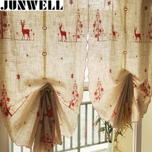 Junwell Poly/Linen Christmas Embroidery Roman Curtain Blinds Home Wave European Kitchen Curtains Living Room Bath Room Balcony(China)