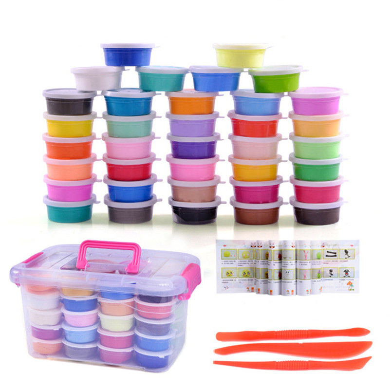12/24/36 Colors Air Dry Light Modeling Clay Set Jumping Slime Box Toys Play Dough Playdough DIY Snow Plasticine Polymer Clay Toy