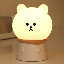 Warm Light Bear Silicone LED Night Light Rechargeable Touch Sensor light 2 Modes Children Cute Night Lamp Bedroom Light