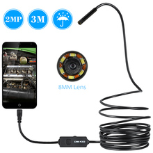 OWSOO 8mm 2MP USB Endoscope 3M Cable Android Mini Sewer Camera Borescope for OTG USB Wire Snake Tube Camera Car Inspection