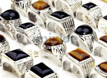Top Natural Stone Men's Rings Alloy Big Size Ring Wholesale 15pcs Lots 16-20MM Jewelry Drop Free