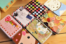 Hot Sell Xmas Cute Iron Card Decor Tin Storage Rectangular Bag Small Jewelry Box Fashion