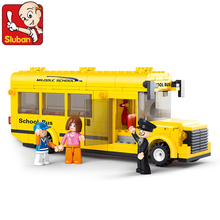 2017 Sluban 0507 Block City School Bus Building Blocks 218pcs Yellow Truck Bricks Car Model Building Toys Children Gifts