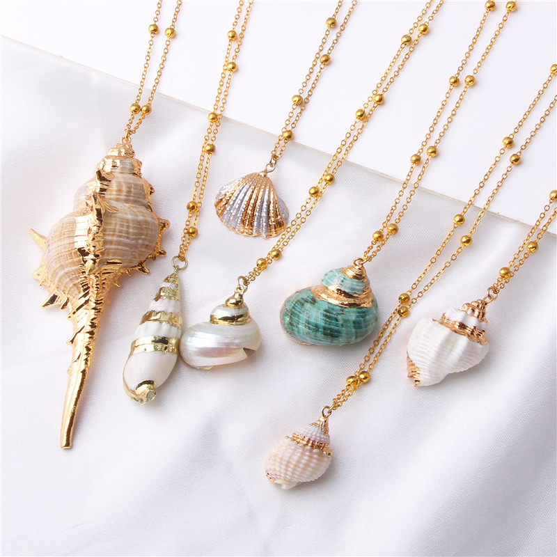 Vinswet 2019 Boho Conch Shell Necklace Conch Sea shell Necklace Pendant For Women Collier Femme Shell Cowrie Summer Jewelry(China)