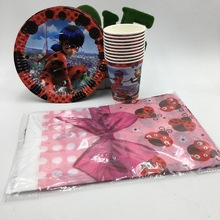 21PCS/LOT LADYBUG PLATES LADYBUG CUPS KIDS BIRTHDAY PARTY FAVORS HAPPY BIRTHDAY PARTY SUPPLIES LADYBUG TABLECLOTH PARTY SET(China)