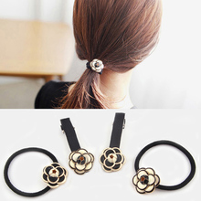 Fashion Girls Women Lovely Camellia Flower Headwear Elastic Hair Rope Hairpin(China)