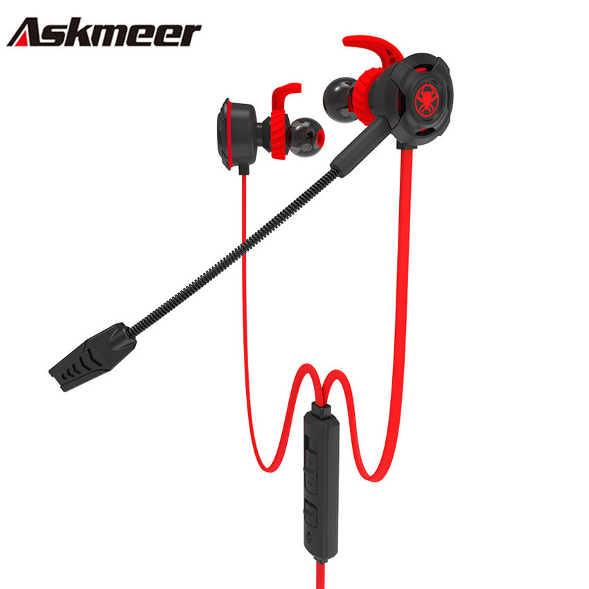 Askmeer casque Gaming Headset In Ear Sport Earphones Earbuds with Detachable Micr for Mobile Phone PS4 New Xbox One PC Gamer<br>