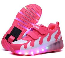 Children Shoes With Light With wheels Skate Boys And Girls Casual LED Shoes For Kids 2016 LED Light Up 4 Colors Kids Shoes 25-35(China)