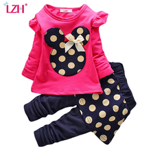 LZH Toddler Girls Clothing Sets 2017 Autumn Winter Clothes Set T-shirt+Pants Kids Sport Suit Children - Official Store store