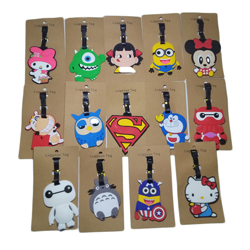 Travel Accessories Luggage Tag Suitcase Cartoon Style Cute Minions Silicone Tags Portable Travel Label Bag Tag Obag Accessories (4)