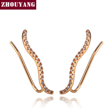 Top Quality 2016 New Cubic Zirconia Rose Gold Color Ear Hook Stud Earrings Jewelry ZYE133 ZYE134(China)