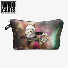 Galaxy panda cat 3D Printing makeup bag 2016 Women cosmetic bag trousse de maquillage travel organizer necessaire pencil case(China)