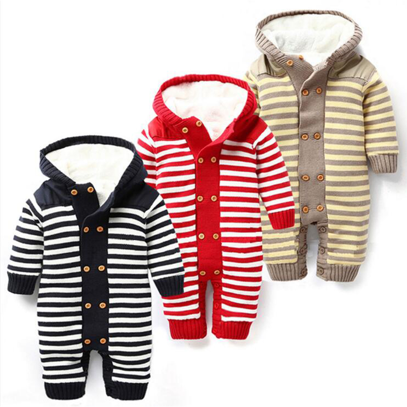 newborn baby clothes cotton long sleeve new winter warm baby rompers knitted sweater striped hooded thickening outwear rompers<br>
