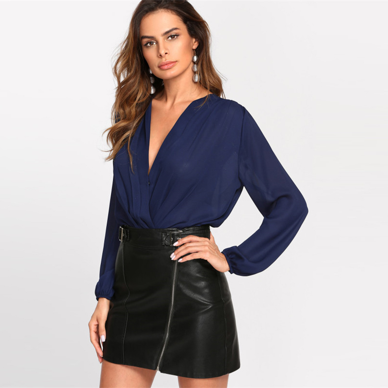 Solid Pleated Wrap Front Blouse Bodysuit, Women's, Work, Office, Navy Deep V Neck Long Sleeve, Elegant Bodysuit 23