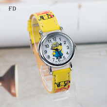 FD Cartoon Minions Children Watch Despicable me New Casual High Quality Leather Strap Quartz Wristwatch Boys Girls Kids Clock