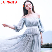 New Beautiful Fairy Fan Word Shoulder Top Female Lantern Sleeves Costume Retro Vase Long Dress Fashion Dresses Camisetas Mujer