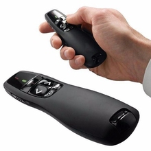 New Arrival Portable comfortable handheld R400 Wireless Presenter Receiver Pointer Case Remote Control with Red Laser Pen Black(China)