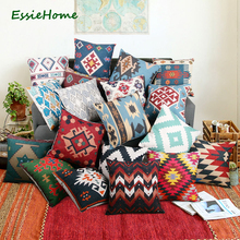 ESSIE HOME High-End Digital Print Blue Turkish Ethnic Kilim Diamond Pattern Pillow Case Cushion Cover For Sofa Home Decoration(China)
