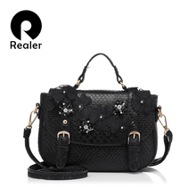 Realer Brand Tote Bag 2016 Upscale Lady Glitter Floral Lace Bag Fashion Women's Handbag Pearl Diamond Crossbody Messenger Bags
