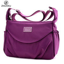 ZHUOKU Women Casual Shoulder Bag Waterproof Nylon Bag 2017 NEW hot sale Multilayer Bags brand monkey Bolsos blosa feminina WH159