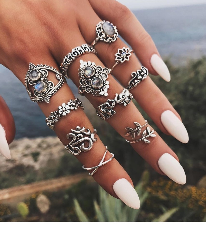 Bague Femme Vintage Rings for Women Boho Geometric Flower Crystal Knuckle Ring Set Bohemian Midi Finger Jewelry Silver Color 46