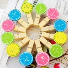 High Quality 12 Pcs/Set DIY Cute Clock Design Wood Clips Bookmark Memo Clip Folder Labels Casual Handmade Photo Clips Hot Sale