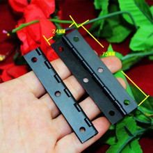 Black Cabinet Door Luggage Hinge,6 Holes Decor,Furniture Decoration,Antique Vintage Old Style,75*24mm,12Pcs