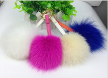 fashion luxury bag charm big colorful fox fur pom poms pendant bag bug colorful lovely fur balls apparel accessory wallets