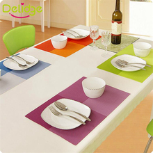 Delidge 1 pc 45*30 cm Europe Style Table Mat PVC Heat-insulated Placemat Dinning Bowl Waterproof Dining Table 5 Colors Pad