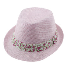 Summer Panama Fedora Hats for Girls Kids Jazz Cap Children Top Beach Straw Cap Girls Trilby Sun Hats Visor Hat QRD011
