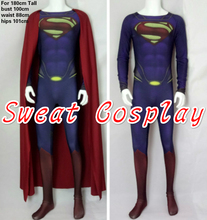 High Quality For 180cm Tall only 1 piece Superman Costume Superman suit with scarlet red cape Spandex Lycra Cosplay Costume