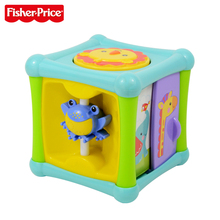 Fisher-Price New Baby Learning Toy Animal Activity Cube 6 Sides Music Kid Funny Toys Aktywna Kostka BFH80 For Kid Birthday Gift(China)