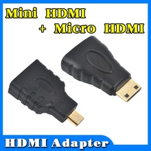Hot HDMI to Mini Micro HDMI HD Gold plating TV Adapter Converter for Xbox 360 for PS3 HDTV for HTC Evo 4G Mobile cable 1set