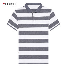 Camisa Dos Homens do Polo de Manga Curta Polos YFFUSHI Cor Bloco Listrado  Casuais Top Camisas Dos Homens Marca de Moda Vestuário. 4a835c1869720